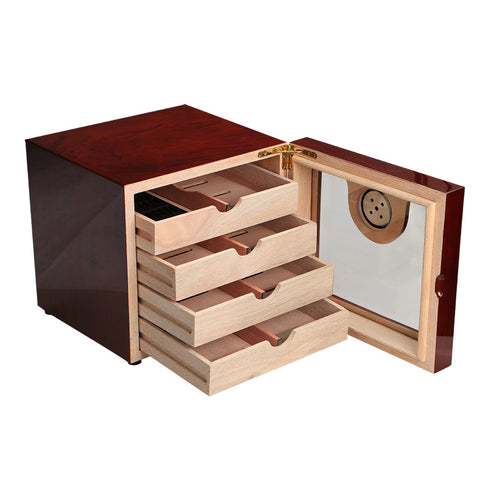 Cigar Cabinet Humidor Storage Box W/ 4 Drawers/Hygrometer Humidifier