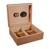 Burlywood Cedar Wood Cigar Humidor Storage Box with Moisture Meter Moisturizing Device