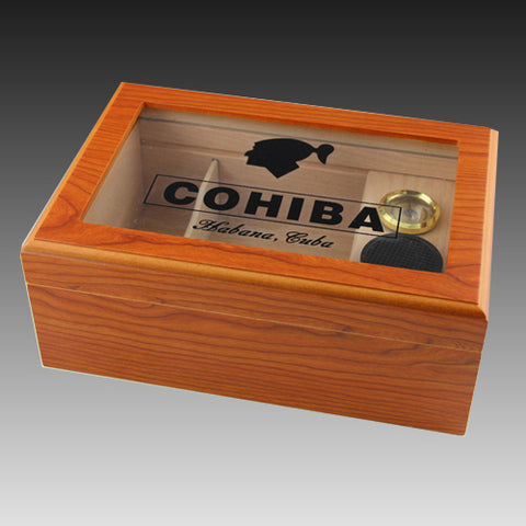 Glass Top Cedar Wood Cigar Humidor Storage Box with Humidifier Hygrometer
