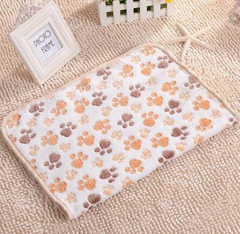 40x60cm Pet Sleep Warm Paw Print Dog Cat Puppy Fleece Soft Blanket Beds Mat