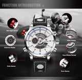 Mens Sport Casual Business Wristwatch Leather Strap With High Quality Waterproof