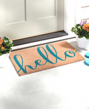 Welcome Script Hello Cursive Doormat Floor Rug Mat Natural & Blue
