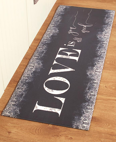 "55"" Sentiment Kitchen Floor Runner Rugs Mat Love is All You Need"