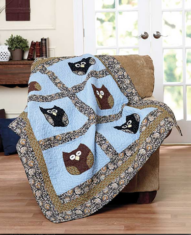 Decorative Owl Quilted Patchwork Throw Quilt Blanket