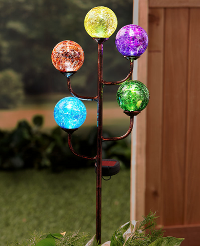 Solar Powered Glass Balls Garden Globe Light Stake