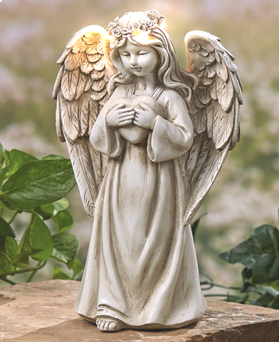 Solar Powered LED Holding Heart Garden Angel