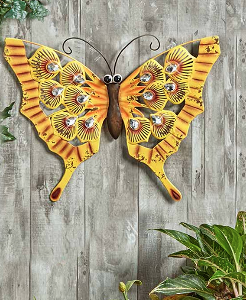Embellished Jewels Wall Or Fence Butterfly Decor Accent Display