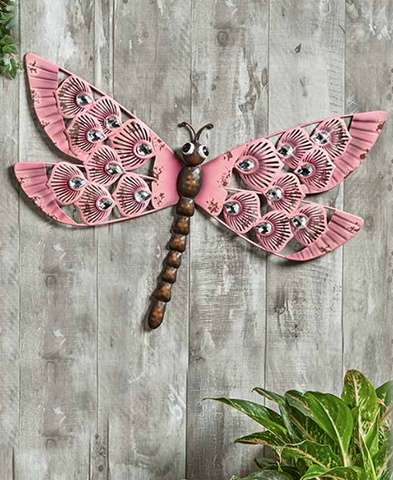 Embellished Jewels Wall Or Fence Dragonfly Decor Accent Display