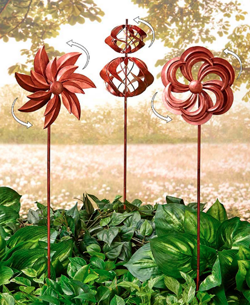 Garden Wind Spinners Rustic Copper Lawn Decoration Set of 3