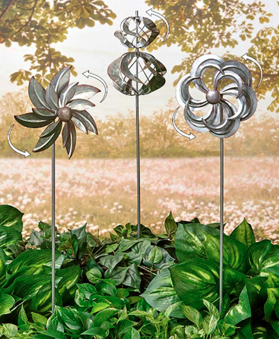 Garden Wind Spinners Galvanized Lawn Decoration Set of 3