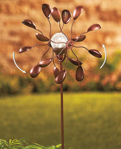 Solar Powered Double Spoon Lawn WindMill Spinner Garden Decoration