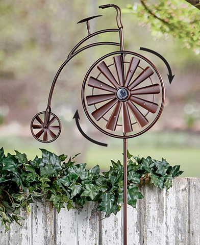 Solar Powered Light Bicycle Lawn WindMill Spinner Garden Decoration