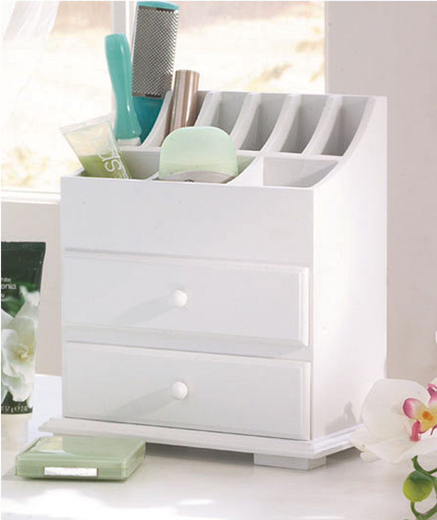 2-Drawer Wooden Beauty Organizer