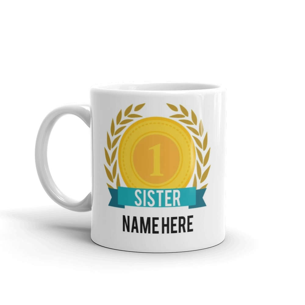 World's Number One Sister Gift Mug Personalised Name Family Best Sis Tea 1 New - Riviera Mugs