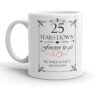 Personalised 25th Wedding Anniversary Gift Mug - Riviera Mugs