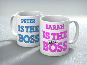 Personalised The REAL Boss Mug Gift Set Valentines Birthday Him and Her Wedding - Riviera Mugs