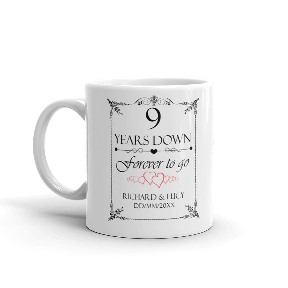 9th Wedding Anniversary Gift.Personalised 9th Wedding Anniversary Gift Mug