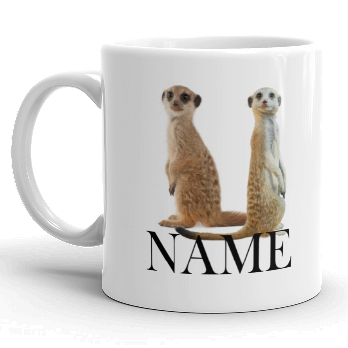 Meerkat Mug Personalised with Name Cute New Perfect Xmas Gift Meer Kat Brand New