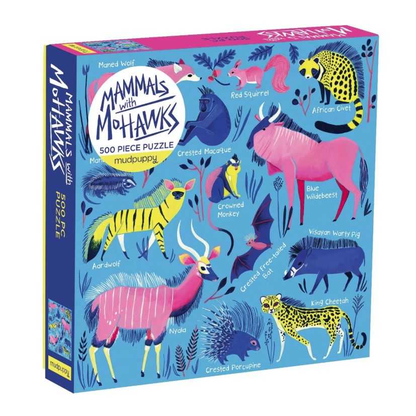 A boxed 500 piece puzzle. The cover of the box shows an illustration of a range of animals that naturally have mohawk like crests, manes and spines.