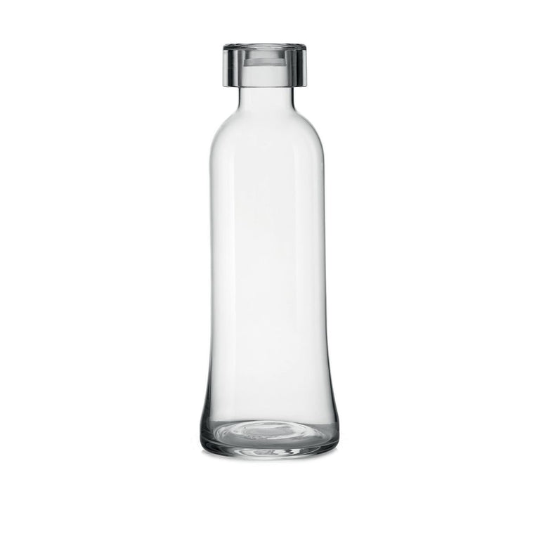 A finely designed Glass water bottle with a clear lid.