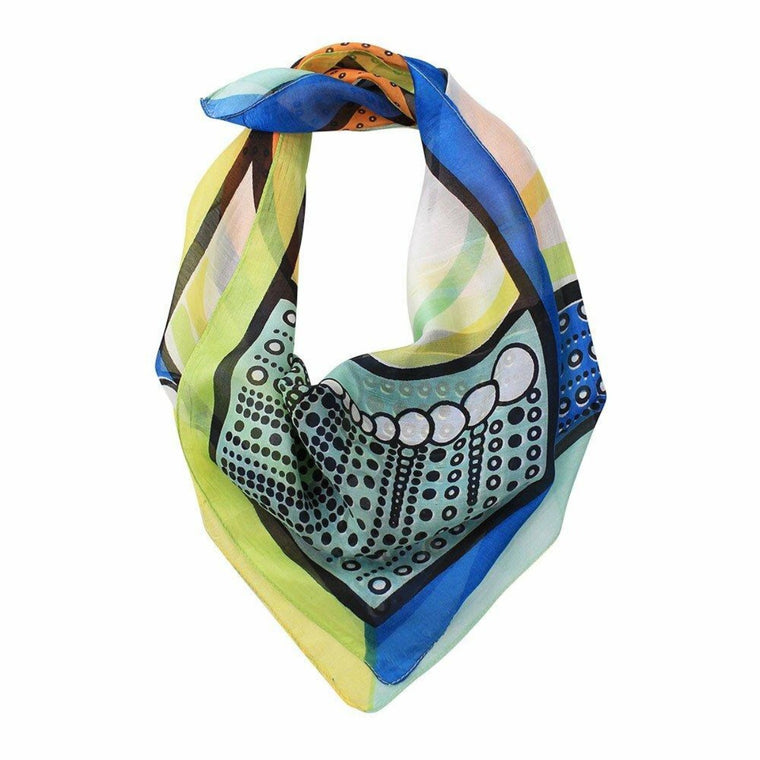 Pure silk square scarf with hand printed design - finished with machine stitch edges.