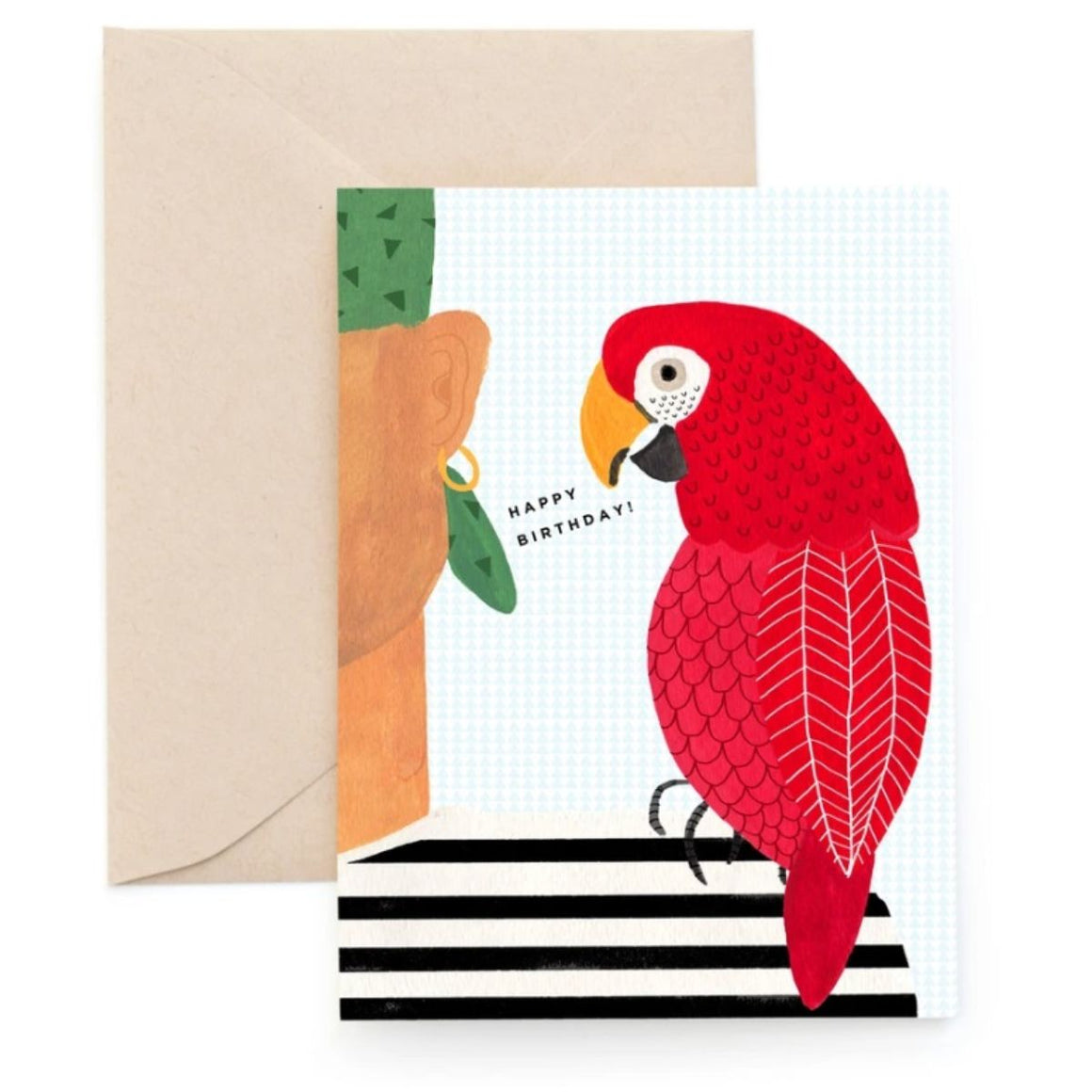 Greeting Card in a white colour background featuring a graphic illustration of a Parrot and Pirate with the words Happy Birthday!