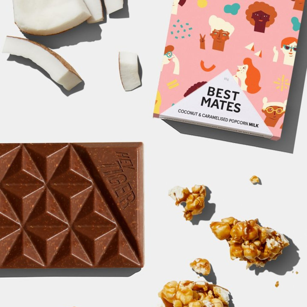 Hey Tiger Chocolate | Best Mates | Milk chocolate coconut & caramelised popcorn | 85g