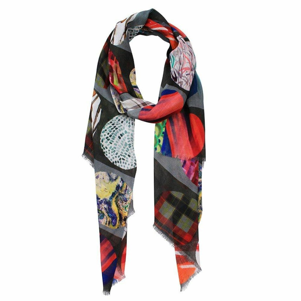 Scarf Kelsie Grey/Blue/Red Patch Digital Print