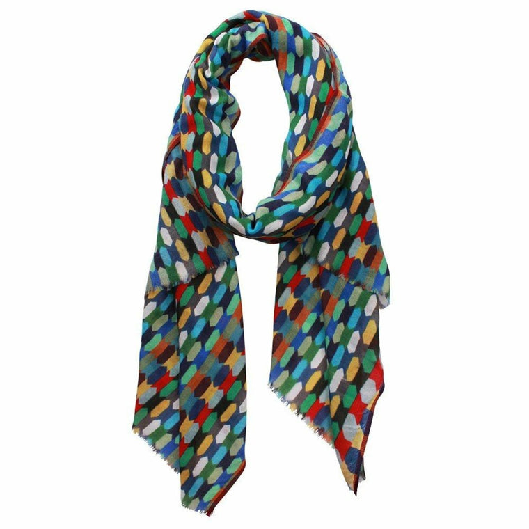 Wool and Silk Scarf featuring a digital print with multiple colours including green, red, black, white, blue