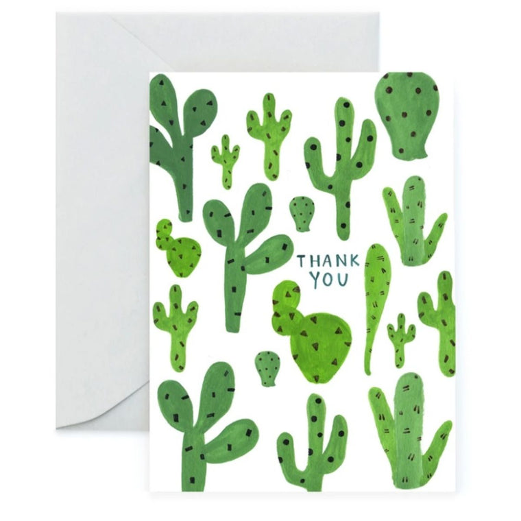 Greeting Card in a white background featuring a graphic illustration of cactus including the words Thank You