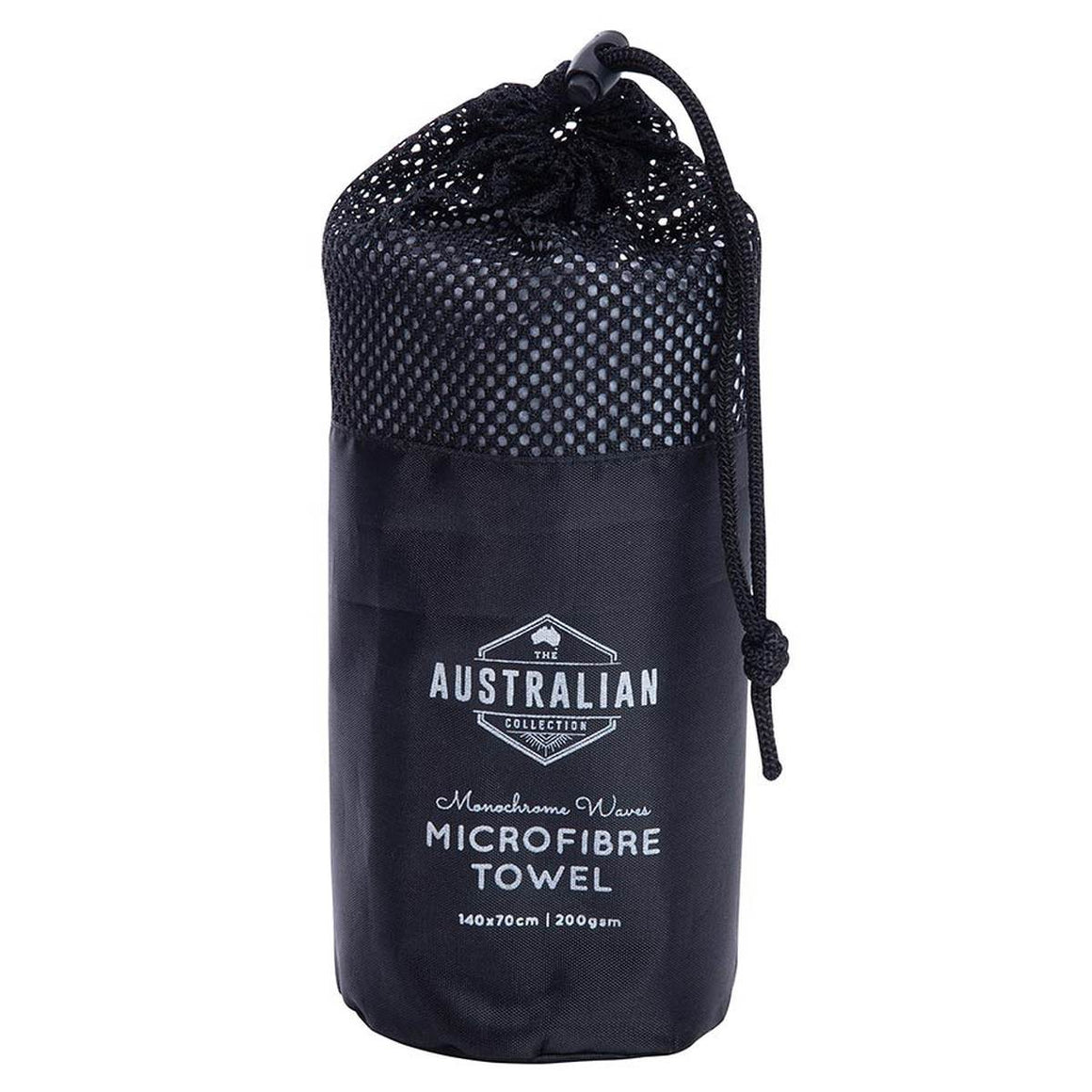 Black Bag Packaging featuring the text The Australian Collection Microfibre Towel