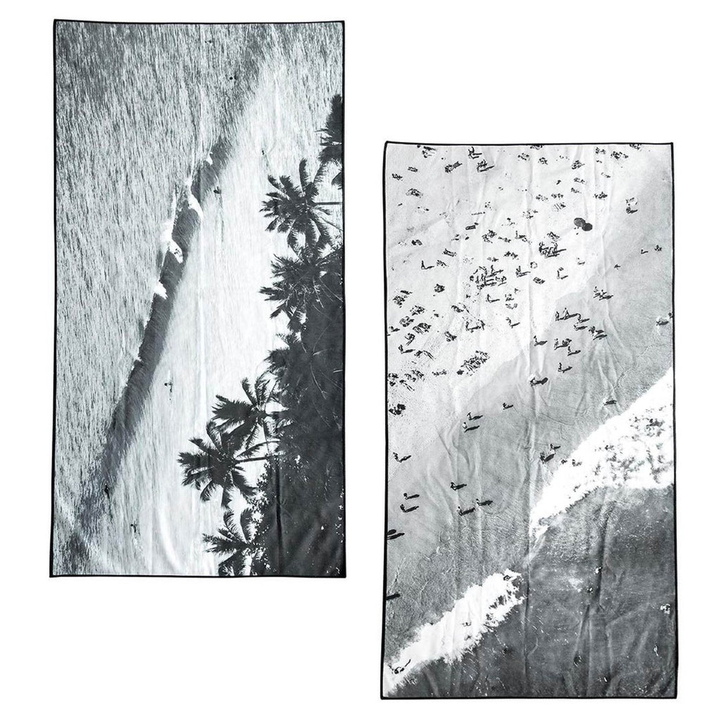Image of two micro fibre towel each featuring two different images, one on the left features a beach wave with surfers and palm trees and the left towel features a packed beach with people on the sand and in the water
