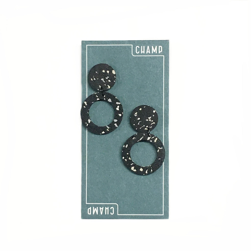 Earrings Penny Hoop - Black & Grey Speckle