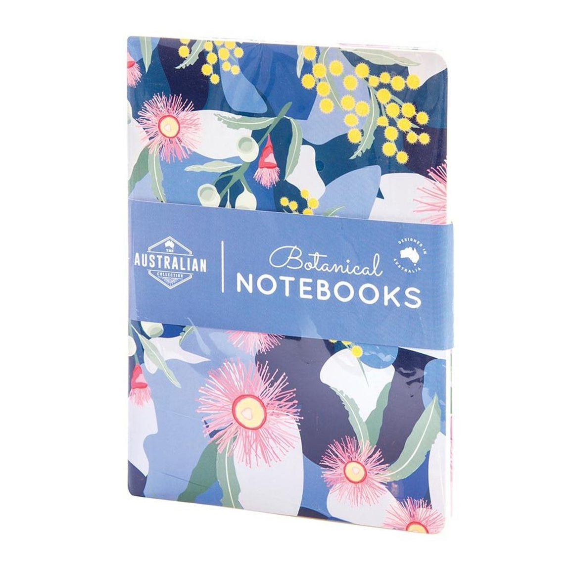 The cover of a notebook featuring an illustrative design depicting Golden Wattle and Flowering Gum.