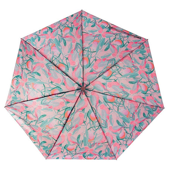 Three varieties of the Australian Birds Umbrella including, Galah, Rosella, Cockatoo