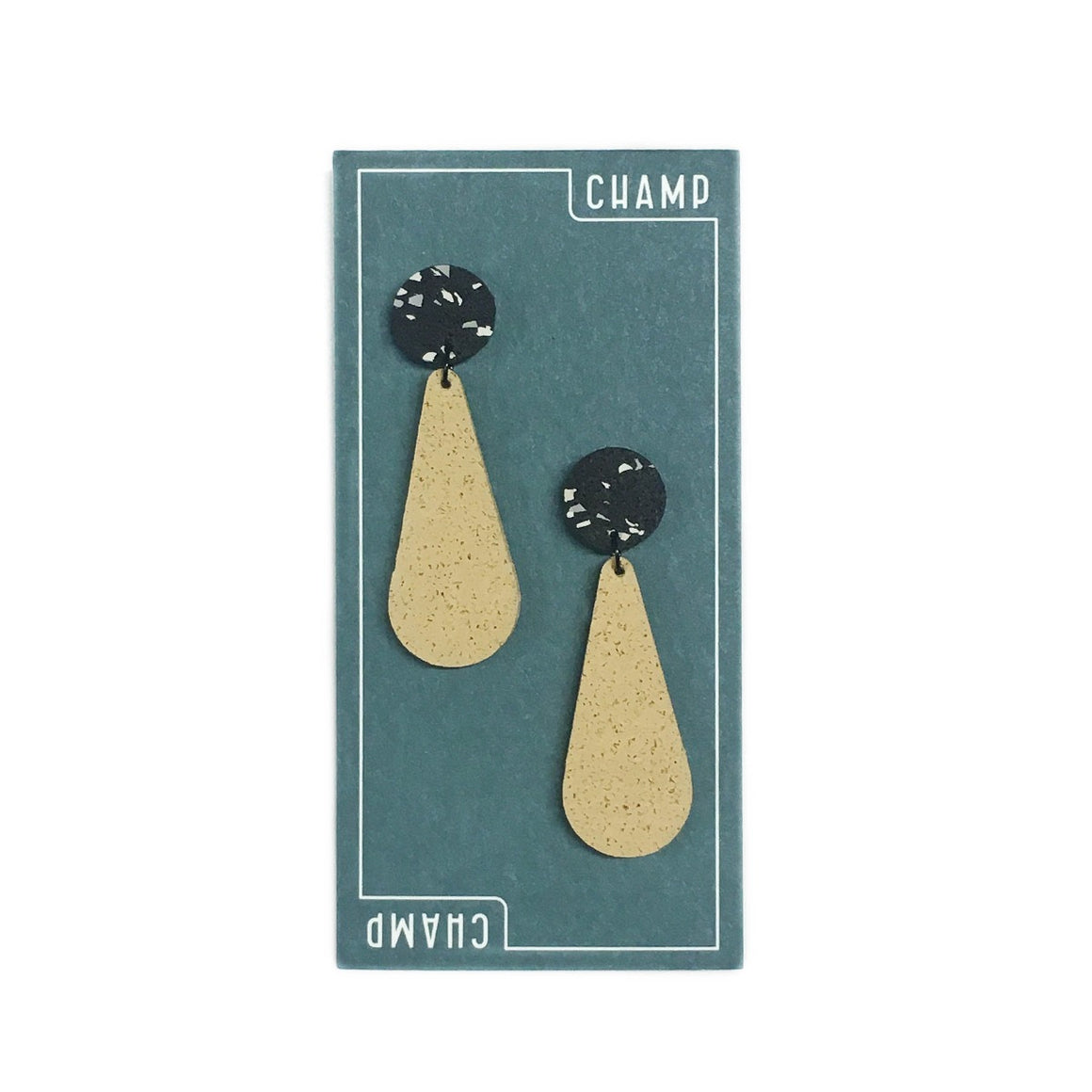 Earrings | Exclamations | Sand Yellow & Black and White Fleck