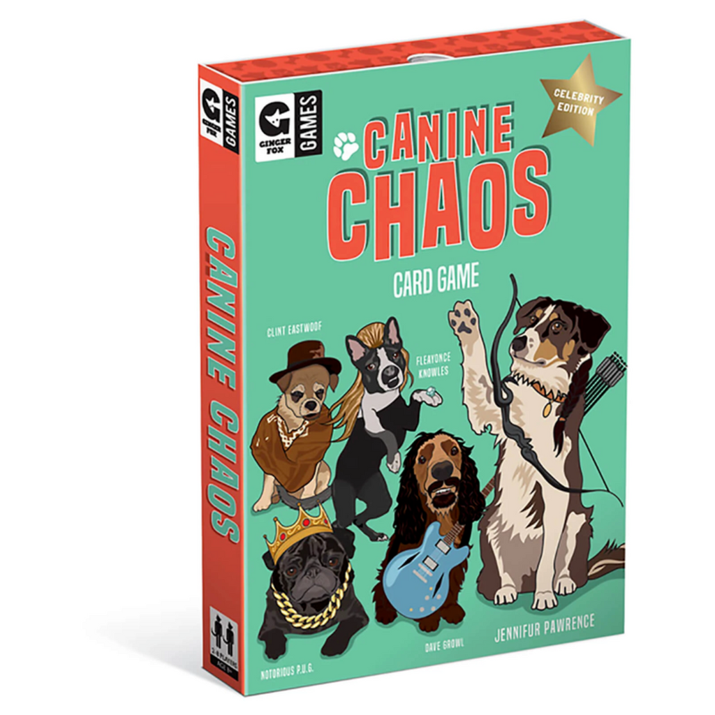 Card Game Packaging featuring the words Canine Chaos Card Game including illustrations of Celebrity Stylized dogs example Jennifur Pawrence