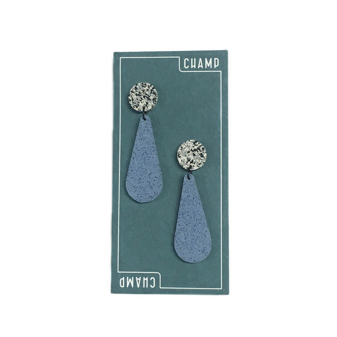 Earrings Exclamation - Blue & Speckle