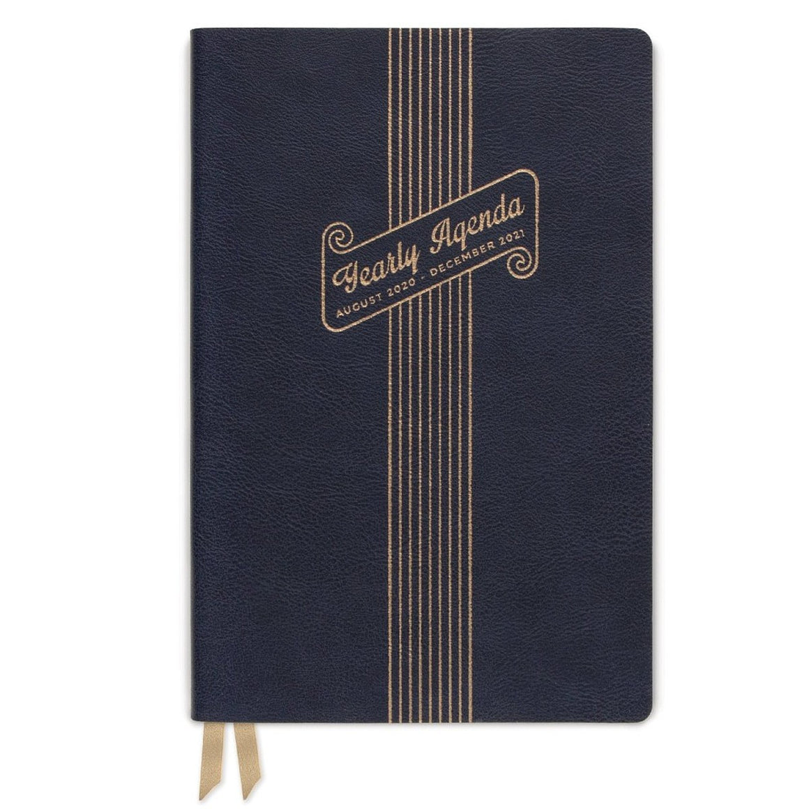 "The cover of a 2020 - 2021 diary featuring gold embossing on a black background. The Gold takes the form of a scroll outline containing the text "" Yearly Agenda August 2020 - December 2021"""