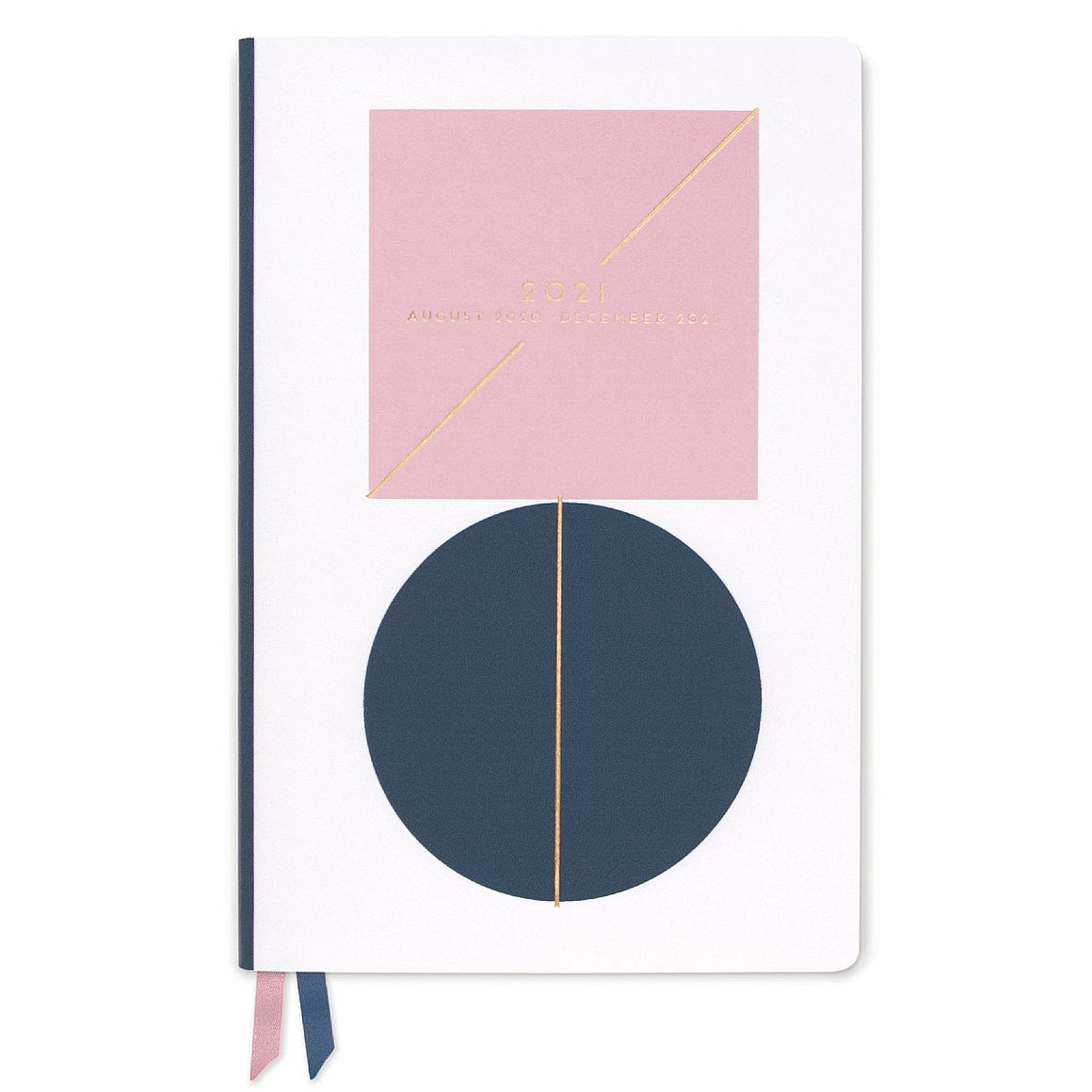 The cover of a 2020 - 2021 diary featuring a pink square and a blue circle on a white background. Gold embosses text and embellishments feature.