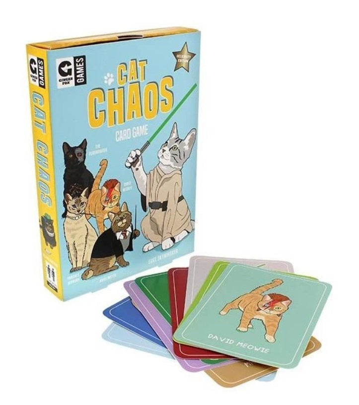 Card Game Packaging featuring the words Cat Chaos and cards laid out with the David Meowie illustration