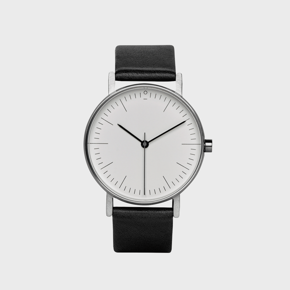 Watch Stock S001C Black Leather Strap & White Face