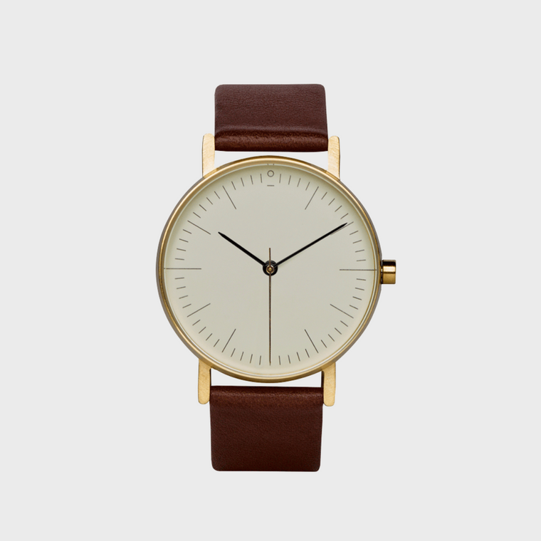 Watch Stock S002G Brown Leather Strap & Gold Case