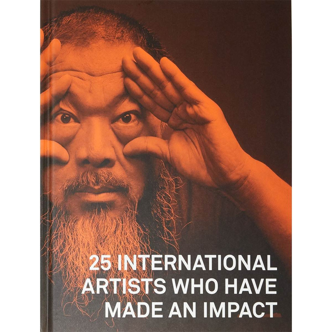 A book cover featuring a red toned photographic portrait of artist Ai Weiwei. He poses with his hands held up to his eyes as if holding a pair of imaginary binoculars.