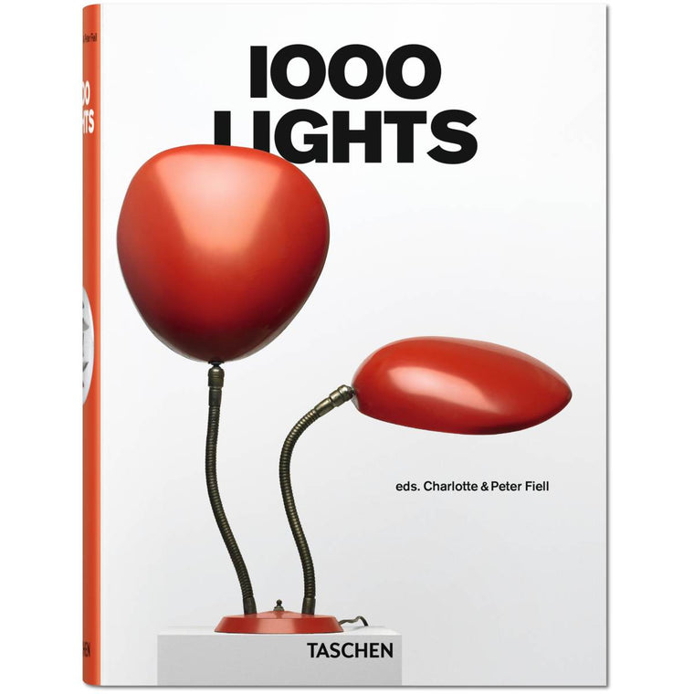 Book cover featuring a white book with the words 1000 lights with a red light featuring two arms