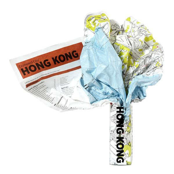 Crumpled Map in Box featuring Hong Kong City