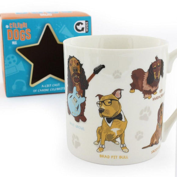 Mug packaging featuring colours Orange and Blue with the words Celebri Dogs A-List Cast of Canine Celebrities