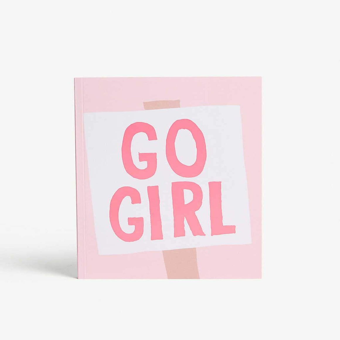 A5 Pink Notebook featuring pink font on a white banner saying go girl