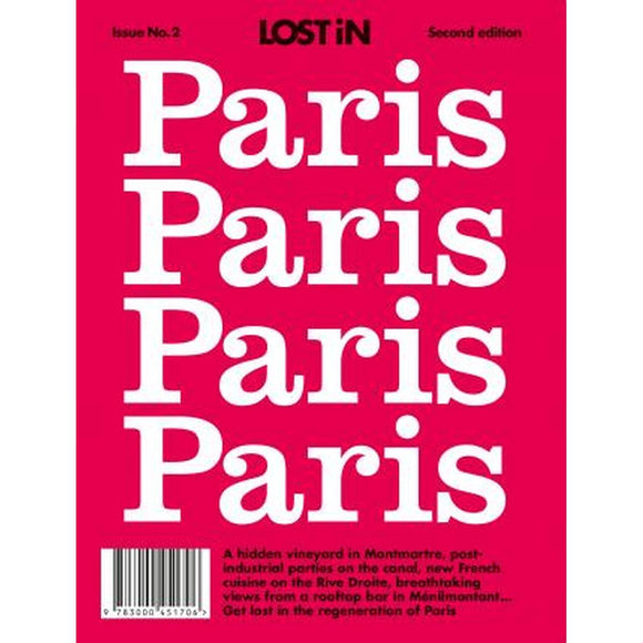 "A book cover with 4 x the text ""Paris"" on a red background."