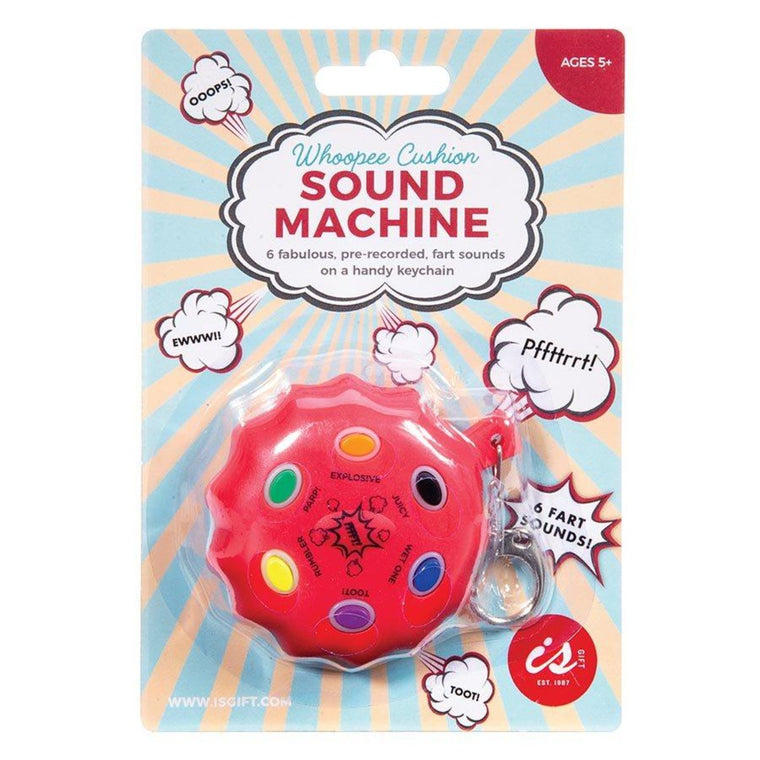 Image featuring the packaging for the Whoopee Cushion Sound Machine keychain